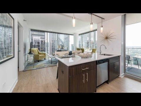 A park-view 2-bedroom, 2-bath model at the Loop's luxurious MILA apartments