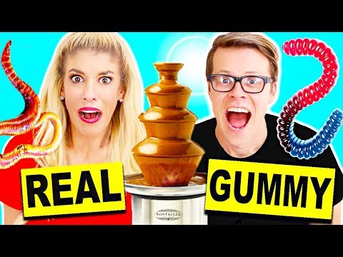 Video Gummy Food vs Real Food Chocolate Fondue Challenge! Giant Gummy Candy Worm download in MP3, 3GP, MP4, WEBM, AVI, FLV January 2017