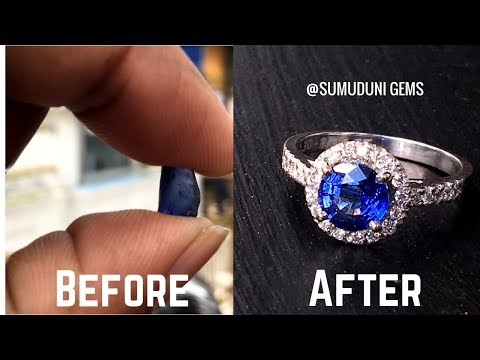 How it made ? Blue sapphire diamond ring 1 carat round halo ring  Sumuduni Gems