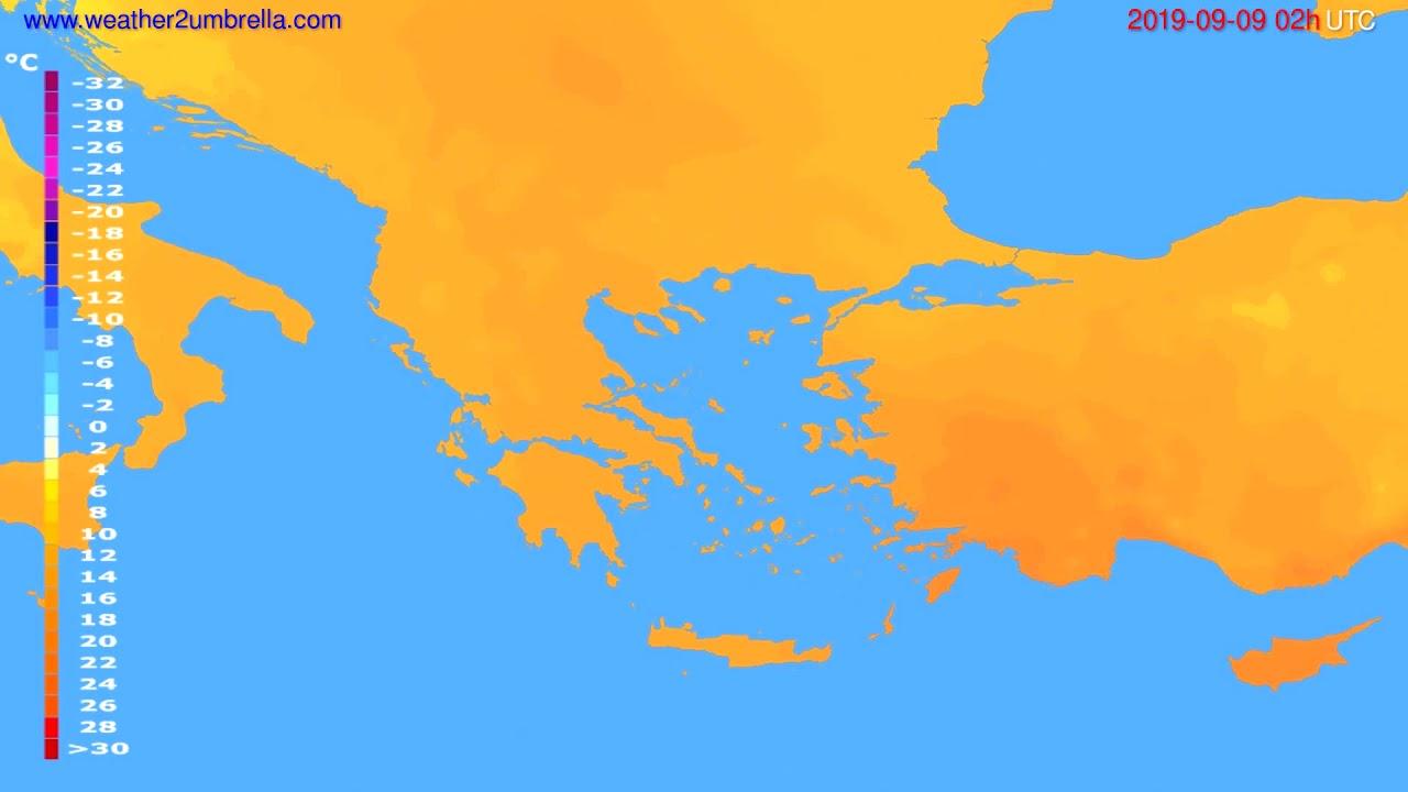 Temperature forecast Greece // modelrun: 12h UTC 2019-09-06
