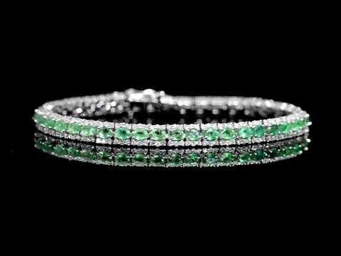 Lady's 14k White Gold 5.7ct (TW) Emerald and Diamond Bracelet