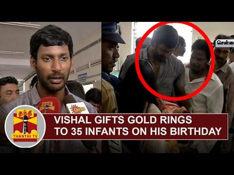 Vishal-gifts-Gold-Rings-to-35-Infants-on-his-Birthday-Thanthi-TV