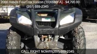 1. 2008 Honda FourTrax Rincon (TRX680FA)  for sale in Lewiston,