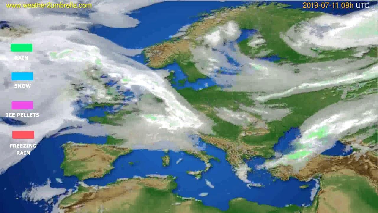Precipitation forecast Europe // modelrun: 12h UTC 2019-07-09