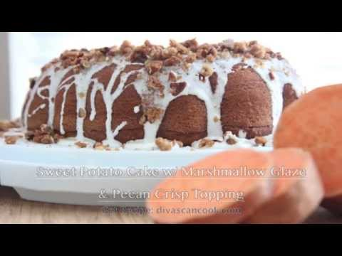 Sweet Potato Cake Recipe w/ Marshmallow Frosting & Pecan Crisp Topping