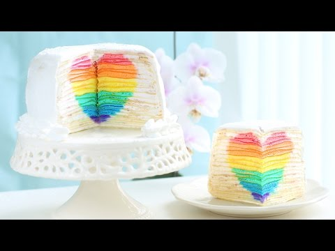 Rainbow Heart Surprise Mille Crepe Cake - Eugenie Kitchen