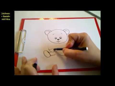 Zeichnen lernen für Anfänger. Einen Teddybär mit Herz zum Valentinstag zeichnen