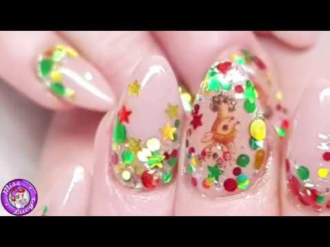 Nail salon - Acrylic Nails  Salon Redesign & Repair  Christmas Glitter  Reindeer Design