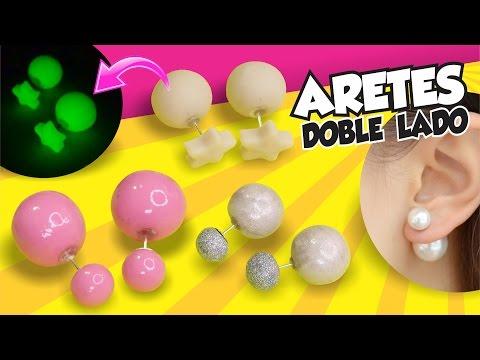 orecchini con doppia perla realizzati in fimo