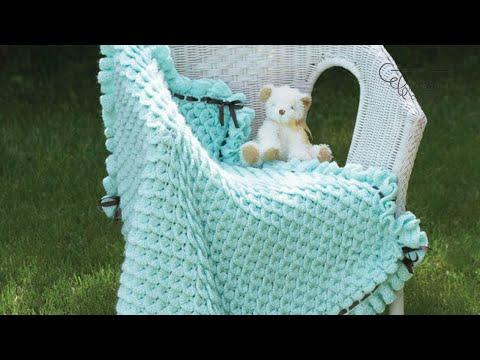 tutorial uncinetto - copertina neonato realizzata col punto coccodrillo