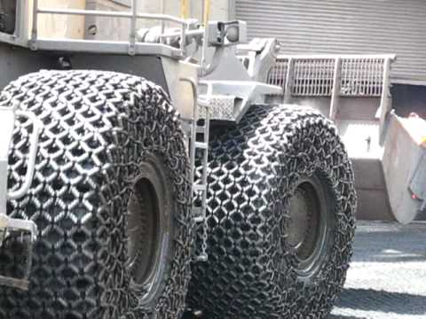 pewag tire/tyre protection chains in hot slag operation