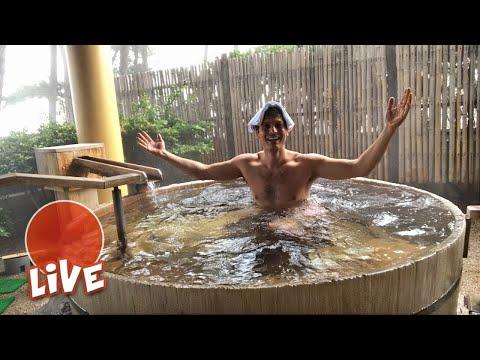 Bath at a Japanese Ryokan: Kaike Onsen Experience ☆ LIVE #10 (видео)