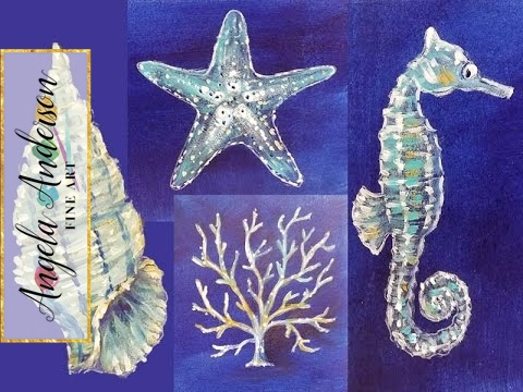Nautical Acrylic Canvas: Coral Seashell Starfish & Seahorse Sea Life | Live Painting Lesson