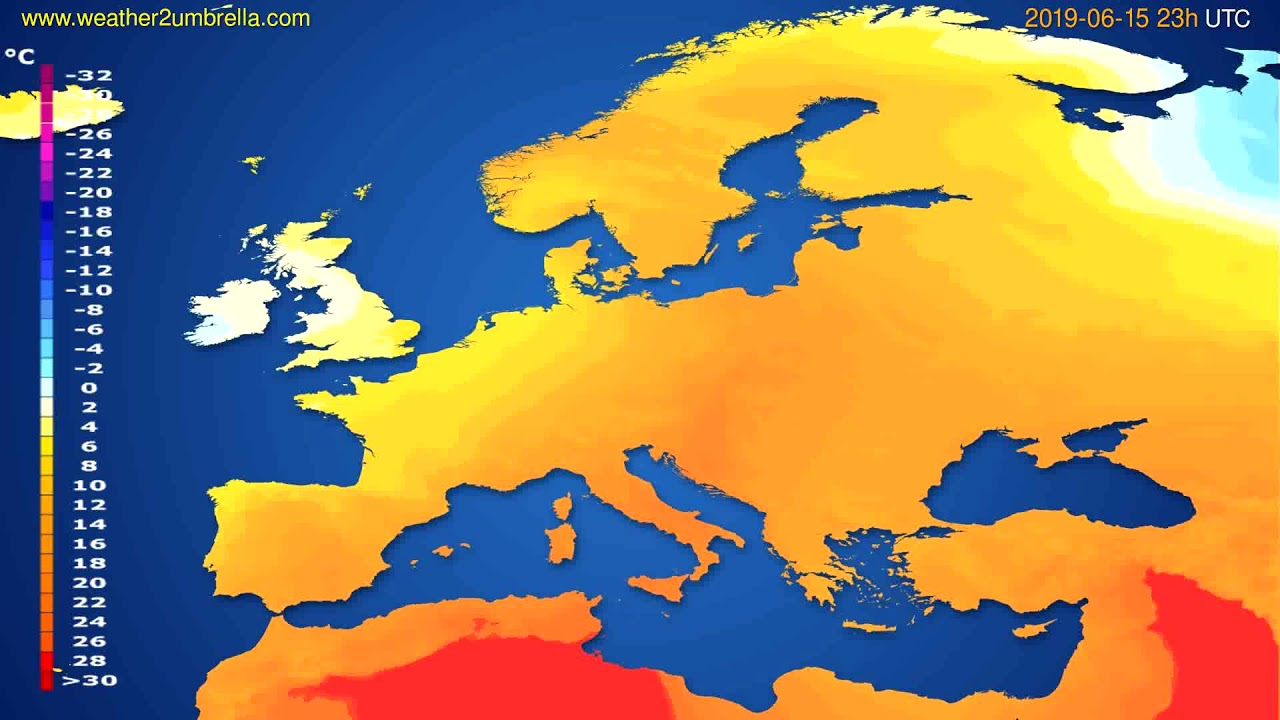 Temperature forecast Europe // modelrun: 12h UTC 2019-06-12