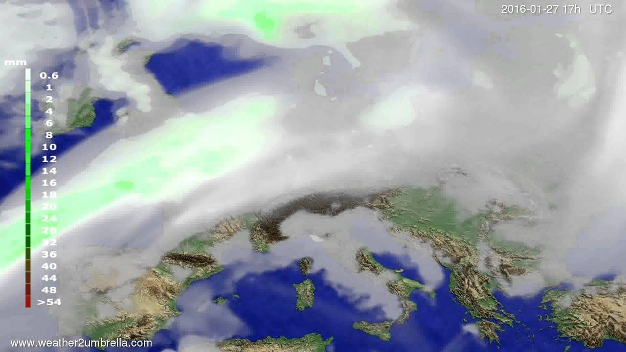 Precipitation forecast Europe 2016-01-25