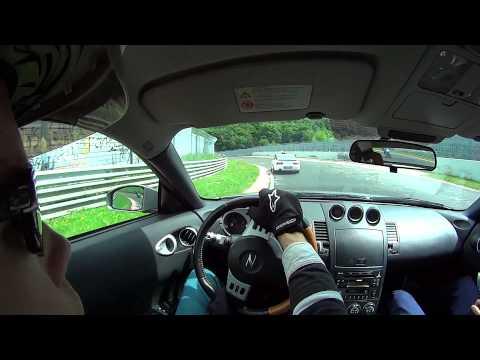 Nissan 350Z Nurburgring Nordschleife touristenfahrten action. Helmetcam HD POV