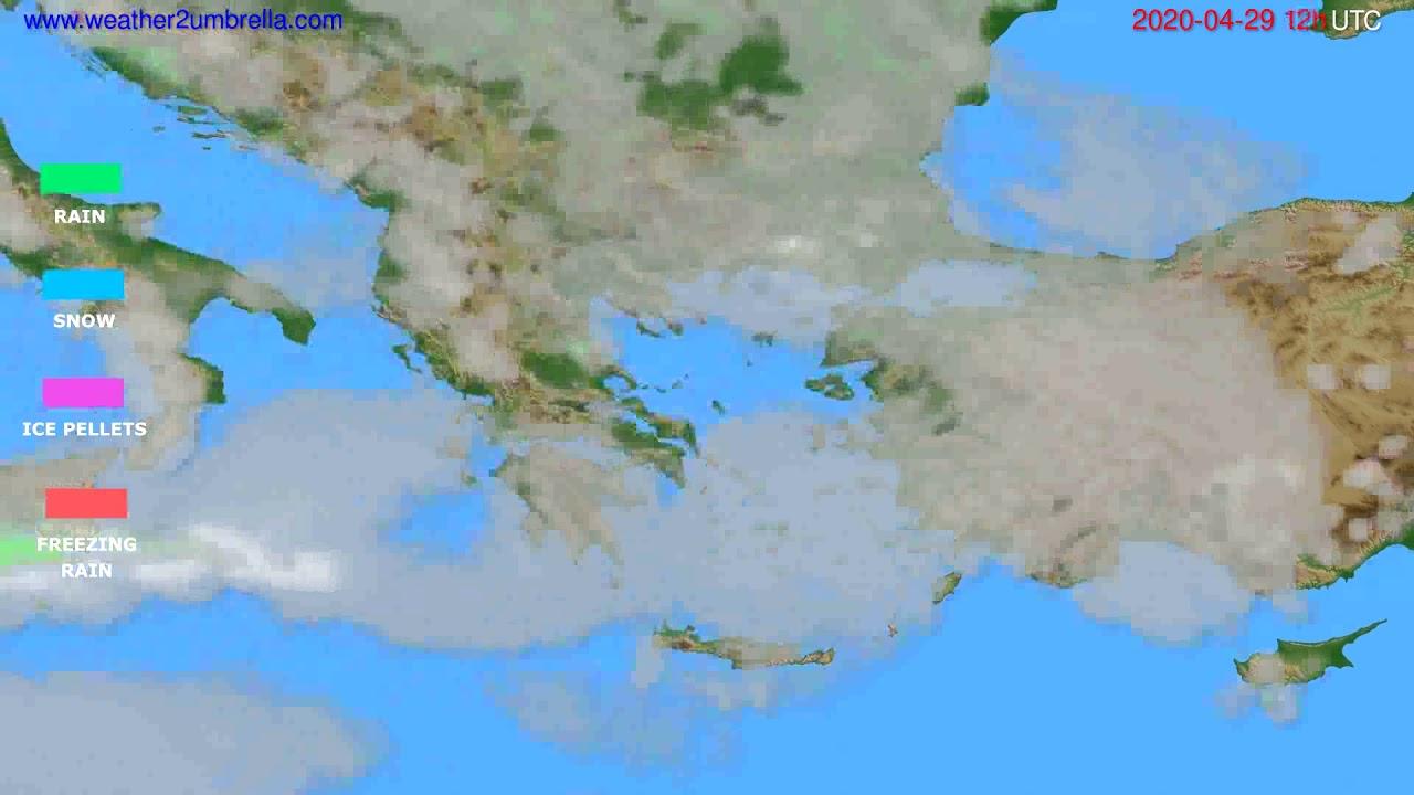 Precipitation forecast Greece // modelrun: 00h UTC 2020-04-29