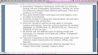 Fall 2011 Computer Graphics Final Exam Review