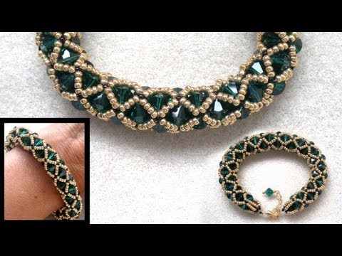 Beading4perfectionists : Netted bracelet with 6mm Swarovsk and seedbeads beading tutorial