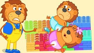 Video Lion Family Super Daddy Build Beds With Lego and Play With Lego Cartoon For Kids MP3, 3GP, MP4, WEBM, AVI, FLV Februari 2019
