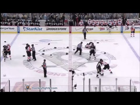 Flyers vs Penguins end of game fights Apr 1, 2012      - YouTube