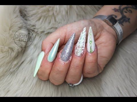 Nageldesign - *New Nails* pastell green //easy ornament//aurora**Pastell Grün//leichte Schnörkel//Aurora