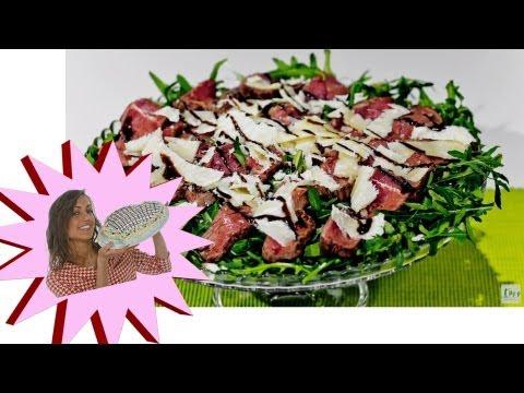 ricetta-tagliata di manzo con rucola e grana!