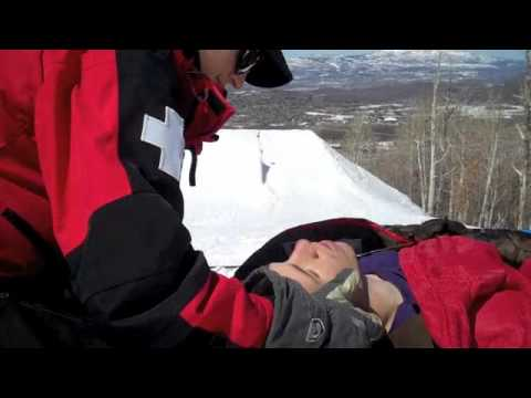 Guy breaks his back snowboarding, despite all the pain it didn't diminish his sense of humour