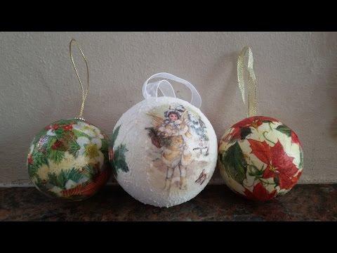 deliziose palle di natale realizzate con decoupage