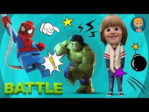 Spiderman Cartoon TOYS GAMES FOR KIDS - Spider-man HULK vs ULTRON LEGO Super Heroes BATTLE