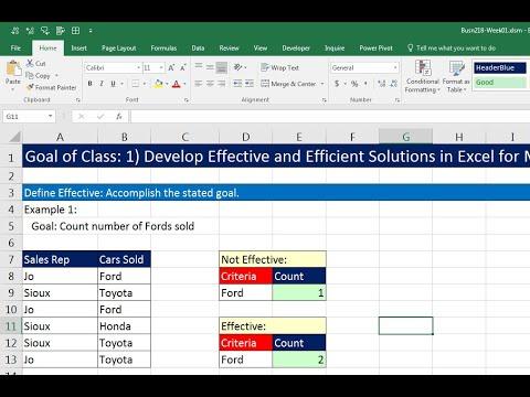 Highline Excel 2016 Class 01: Excel Fundamentals: Efficiency, Data, Data Sets, Formatting