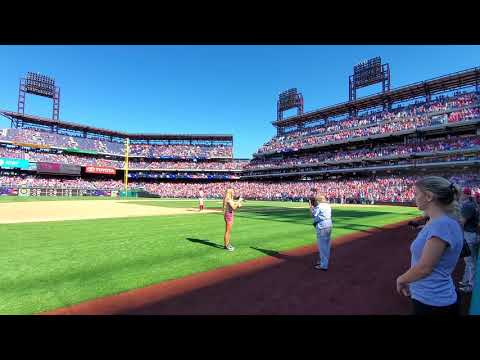CC Miles singing God Bless America at Phillies Redsox game