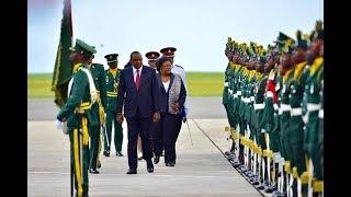 Uhuru Kenyatta in Barbados, holds talks with Prime Minister Mia Mottley