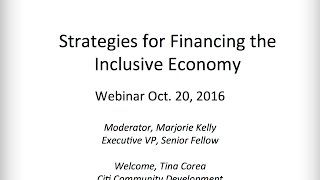 Webinar: Strategies for Financing the Inclusive Economy