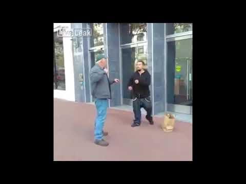 Wypad gówniarzu, bo dostaniesz gonga! Dziadek nokautuje ulicznego cwaniaka!