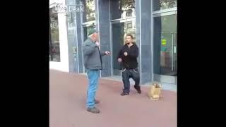 Wypi*rdalaj gówniarzu, bo dostaniesz gonga! Dziadek nokautuje ulicznego cwaniaka