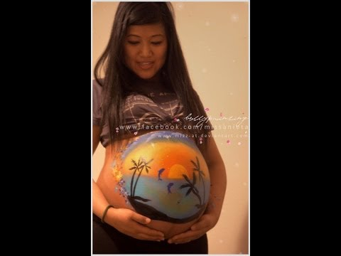 Pregnancy (8 months pregnant) belly painting sample video