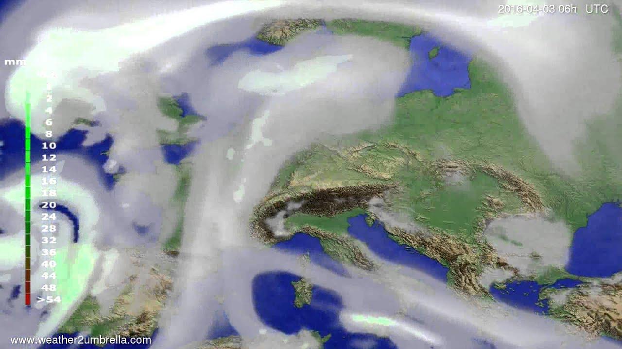 Precipitation forecast Europe 2016-03-31