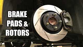 How To Install Brake Pads & Rotors On A Honda S2000QuickJack -  https://www.quickjack.com/Subscribe for new videos every Wednesday! - https://goo.gl/VZstk7Products Used:QuickJack -  http://amzn.to/2sfGmXV (5,000 lb in video)Brake Piston Tool - http://amzn.to/2tWIFMvSilicon Paste For Brake Pins - http://amzn.to/2tWbHvGMolykote M77 - http://amzn.to/2sZgNriAluminum Anti-Sieze - http://amzn.to/2sg4CcjCopper Anti-Sieze - http://amzn.to/2sfTxI8Brake Pads - http://bit.ly/2tn0WFOFront Brake Rotors - http://bit.ly/2sfprEZRear Brake Rotors - http://amzn.to/2sZS9XuI've picked out some rotors with directional vanes, rather than straight vanes, which supposedly offer better cooling as they help pump air through the brakes, which leads to less brake fade. I'll be doing some testing to see if this is actually true in a later video. Our first step in changing out the brakes is to loosen the wheel lug nuts. Next, we need to lift the wheels off the ground. Be sure to locate the proper jacking points in your owners manual before lifting the car. With the car raised, we can remove the wheels and access the brakes.Starting at the front, first we need to remove the brake caliper to get access to the rotor. To remove the caliper piston & brake pads, there are two bolts on the backside of the caliper. Use a wrench to hold the caliper pin in place, while using a socket wrench to remove the bolts. After removing these two bolts, you can pull the caliper free - set it aside and be sure not to let it hang from the brake line. You can now also remove the two brake pads.Next, we'll remove the caliper bracket. There are two screws to remove, and then it can be pulled free. With complete access, now we can start removing the brake rotor. Usually there are two screws which hold it in, which if they're old will likely be rusted at this point. Using a screwdriver and a mallet or hammer, give the rusted screws several hammer taps to help disturb the rust. Then, using a screwdriver, or perhaps an impact wrench if needed, remove the two screws. If nothing seems to get them to budge, you can simply drill out the screws so they're no longer fastening the rotor.At this point, the rotor is free to remove, but it's likely that rust will hold it in place. There are two bolt holes to break it from the rust. Using the bolts from the caliper, screw them into the rotor, and slowly tighten each bolt, alternating back and forth, until the rotor finally breaks away.Before installing the new rotor, spray both sides with brake cleaner to remove any protective oil or residue that may be left on the surface. On the hub where the brake rotor rests, rust can build up, so I'm using a wire brush on a drill bit to remove some of the rust and clean up the hub a bit. Slide the new rotor in place, aligning the orientation with the screw holes. You can use a single lug nut to hold the rotor in place while you assemble the brake caliper.Next we'll put the brake caliper bracket back in place using the two bolts. Honda's torque spec for these bolts is 79.6 lb-ft. (108 N-m). With the new brake pads, Honda recommends applying Molykote M77 or Daikalub 528D to the back and sides of the backing plate, as well as on the back of the shims. If your pads came with new hardware, replace the clips in caliper bracket, and then slide the brake pads in place. Make sure not to get any grease on the rotors or pad face.Now we need to push the piston back into the caliper. Before doing so, it's a good idea to wipe down the surface & exposed sides of the piston. Then place the old brake pad against the piston, and using a brake pad piston compressor, press the piston back into place. It shouldn't require much effort, and once the effort gets high, the piston is likely flush with the caliper and you can stop. I bought this tool for $8 from Harbor Freight, and it works just fine.Next, be sure the brake caliper pins are lubricated and can rotate freely. It's a good idea to inspect these and apply grease as necessary. Slide the caliper over the brake pads, and torque down the two bolts to 24 lb-ft (32 N-m). Now we can put the wheel back on, and tighten down the lug nuts. Because the car is lifted, we'll need to wait until it's lowered again to apply the correct torque. Engineering Explained is a participant in the Amazon Services LLC Associates Program, an affiliate advertising program designed to provide a means for sites to earn advertising fees by advertising and linking to Amazon.com. Don't forget to check out my other pages below!Facebook: http://www.facebook.com/engineeringexplainedOfficial Website: http://www.howdoesacarwork.comTwitter: http://www.twitter.com/jasonfenske13Instagram: http://www.instagram.com/engineeringexplainedCar Throttle: https://www.carthrottle.com/user/engineeringexplainedEE Extra: https://www.youtube.com/channel/UCsrY4q8xGPJQbQ8HPQZn6iANEW VIDEO EVERY WEDNESDAY!