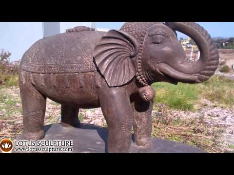 SOLD Stone Elephant with Raised Trunk 36