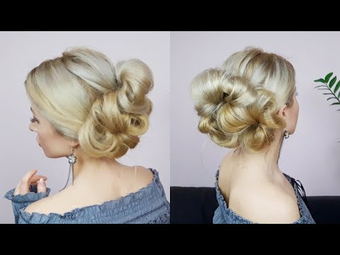 Easy hairstyles - QUICK AND EASY HAIRSTYLE VOLUMINOUS EASY UPDO FROM BUNS  Awesome Hairstyles