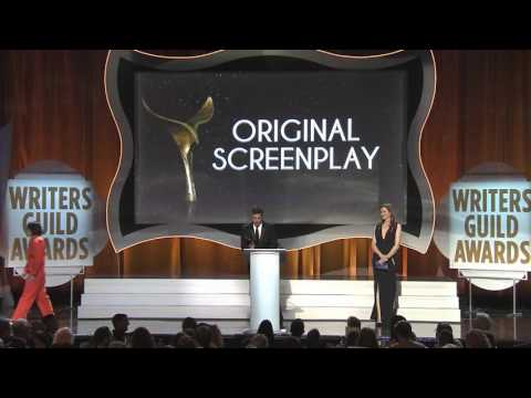 Geena Davis presents the 2016 WGA Original Screenplay Award to Spotlight's Josh Singer