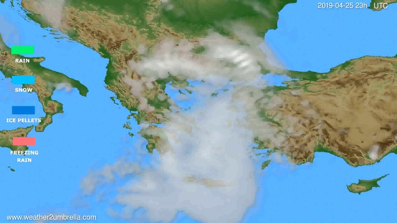 Precipitation forecast Greece // modelrun: 12h UTC 2019-04-22