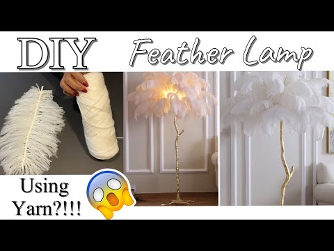 HOW TO USE YARN TO DIY A FEATHER LAMP  DIY FLOOR LAMP