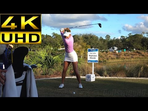 ALISON LEE 4K UHD - SLOW MOTION & REGULAR FACE ON DRIVER GOLF SWING