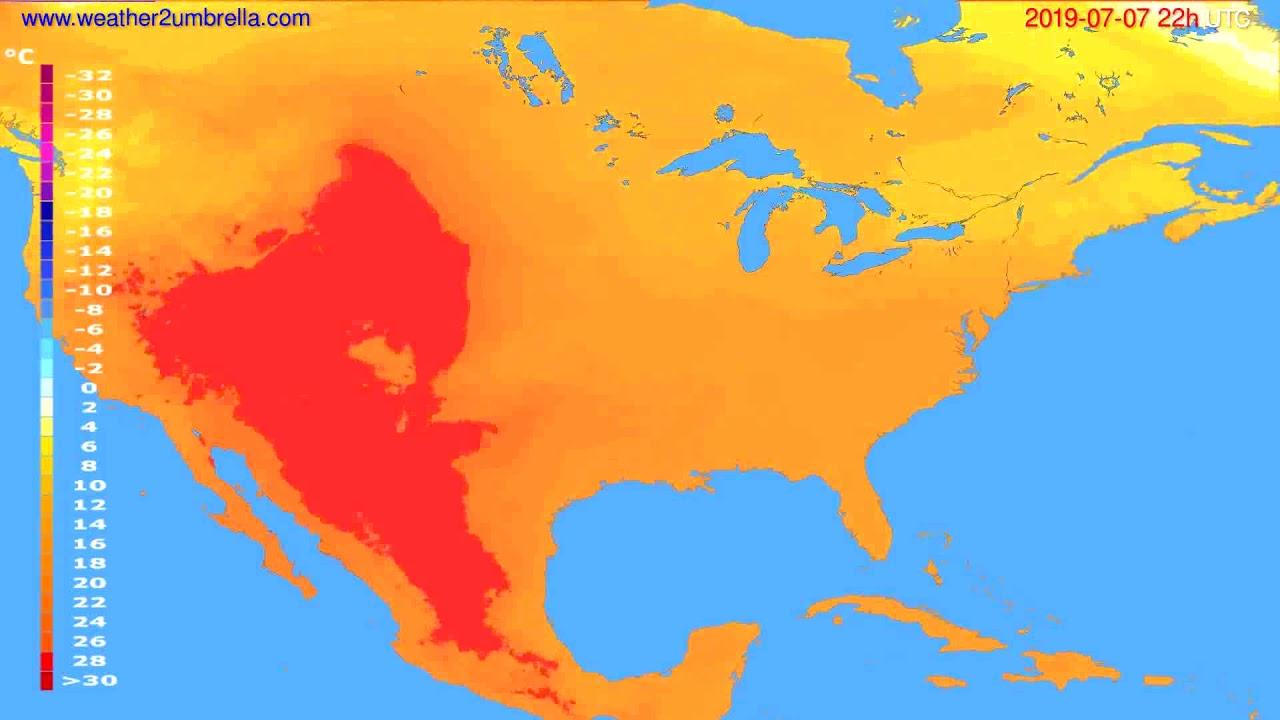 Temperature forecast USA & Canada // modelrun: 00h UTC 2019-07-05