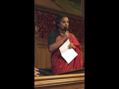 Indian Actor Shabana Azmi speaking at the British Parliament on International Women's Day