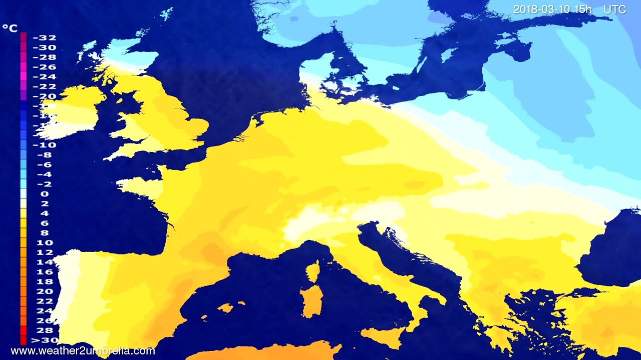 Temperature forecast Europe 2018-03-08