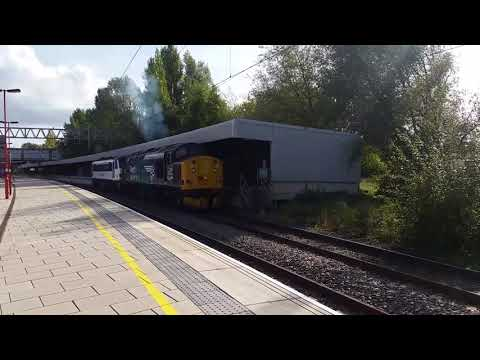 Stafford Railway Station 37716 DRS drags 90007 GA on the 29th Sep 2017