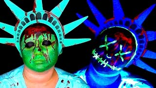 THE PURGE GLOWING LIBERTY MASK MAKEUP TUTORIAL! by Kat Sketch
